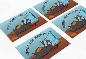 Autorskie kartki pocztowe dzień borsuka