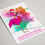 Kartka świąteczna z flamingiem